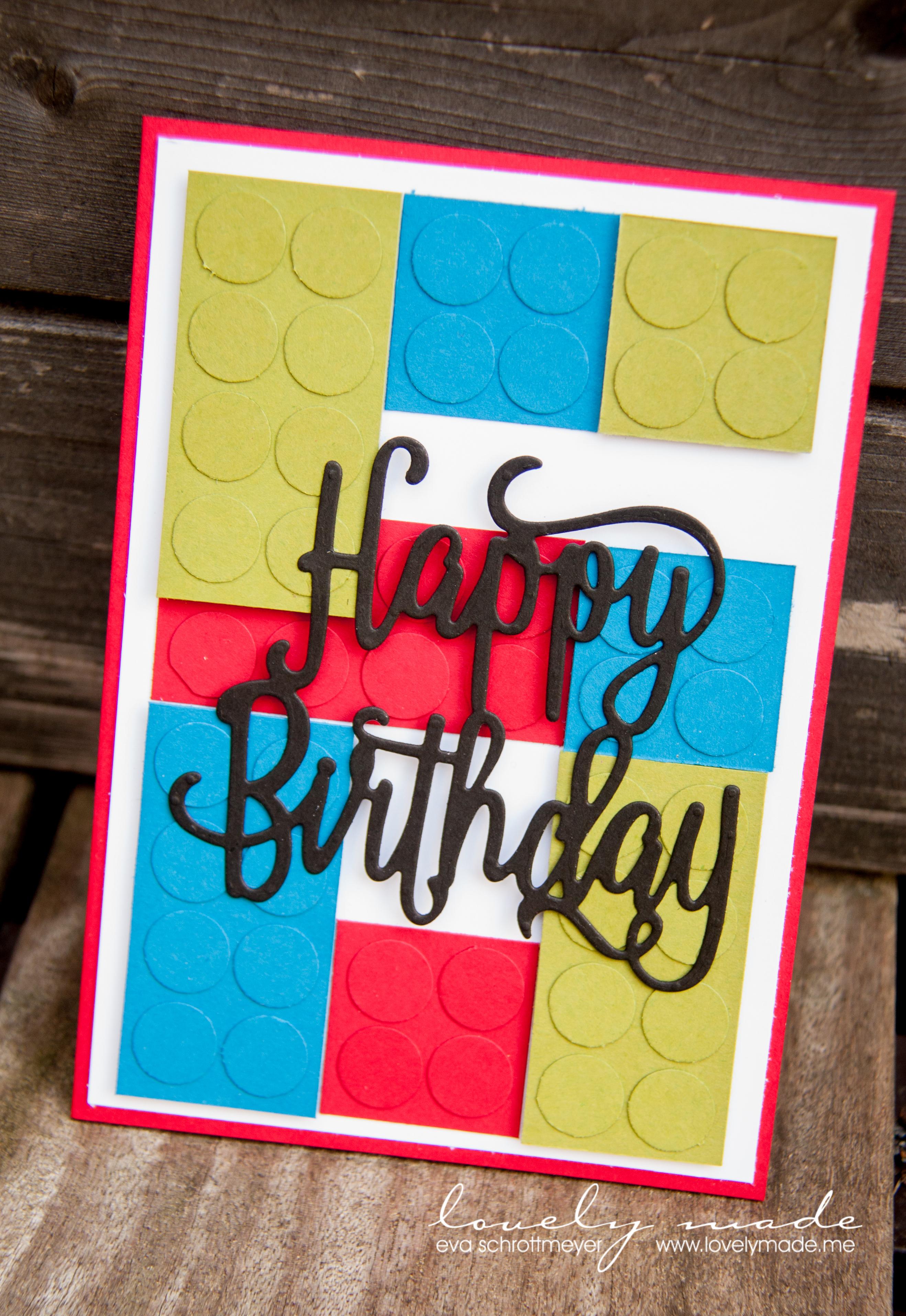 Lego Geburtstagskarte – ein bisschen Punch Art | lovelymade