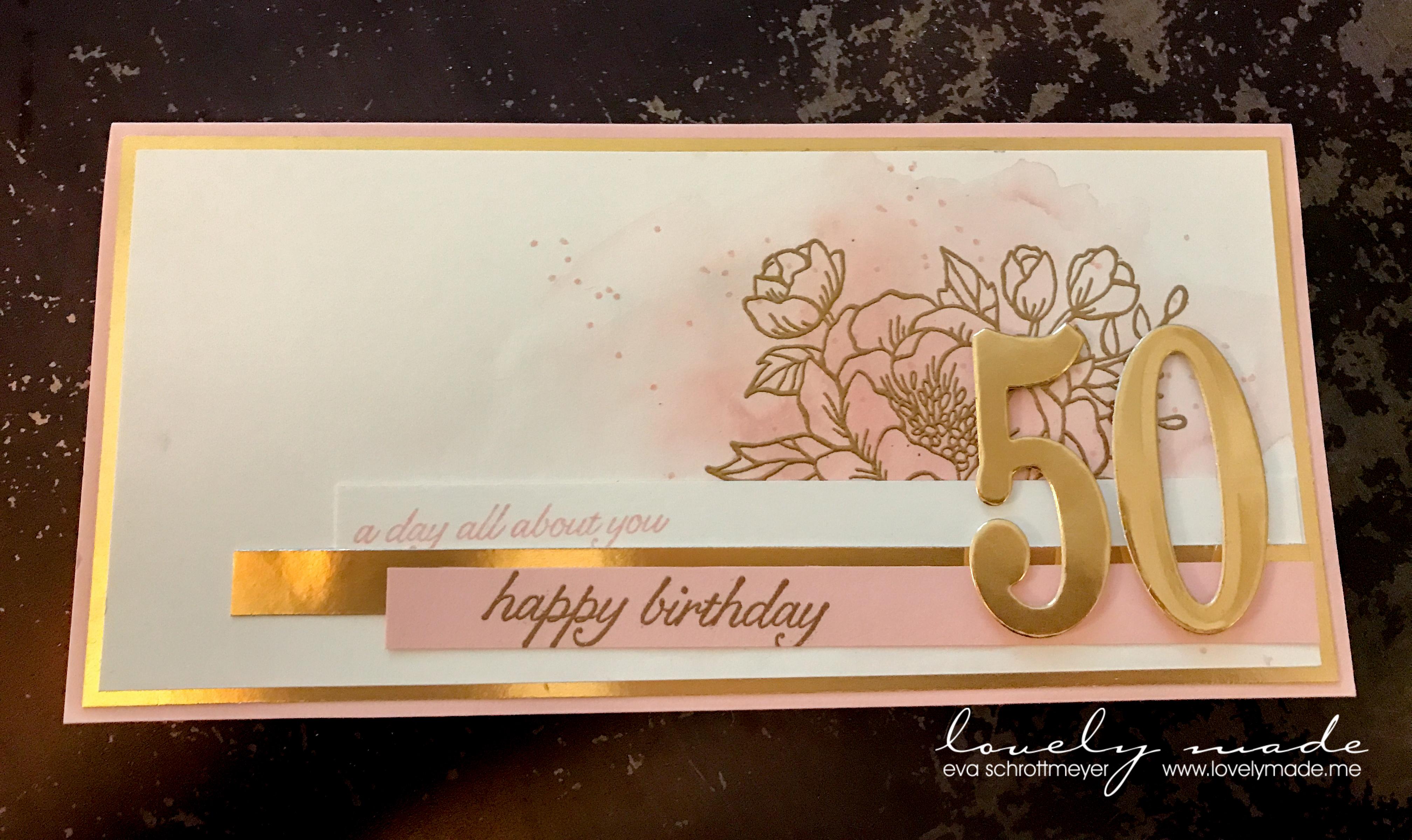 Karte 50 Geburtstag.Zum 50 Geburtstag Karte Zur Torte Lovelymade